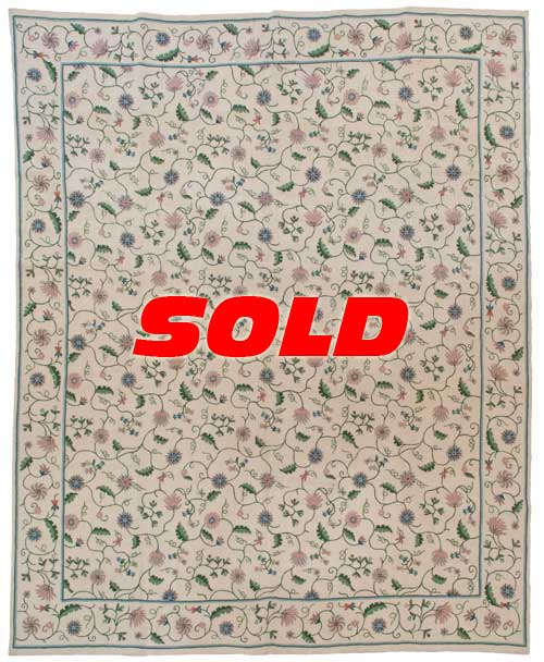 8×10 Vintage Crown Kashmir Chain Stitch Rug – SOLD