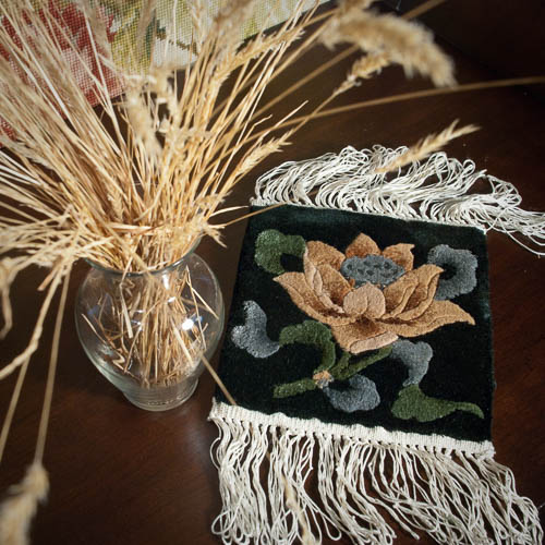 All-Silk Chinese Rug Mat – Lotus Flower