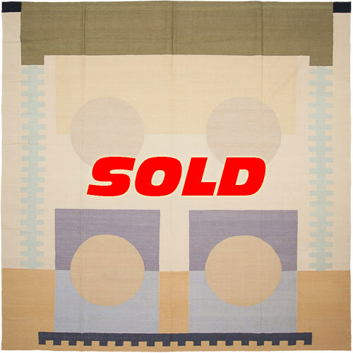 10×10 Modern Kilim Style Square Rug – SOLD