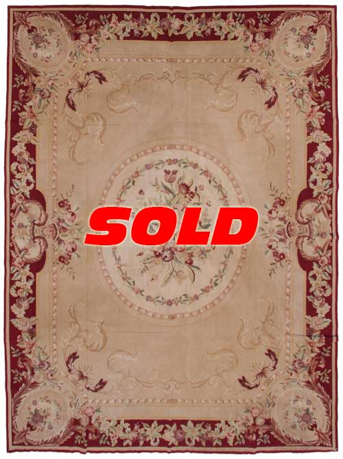 9×12 Fine Antique Design Needlepoint Rug – SOLD