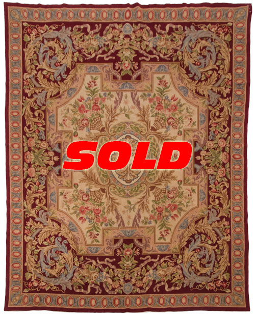 8×10 Fine Antique Design Needlepoint Rug – SOLD