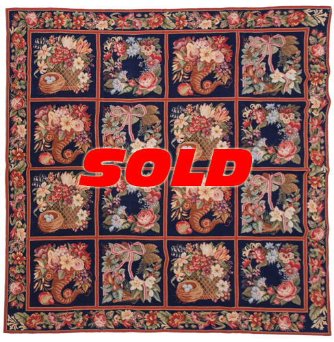 7x7 Fine Needlepoint Square Rug